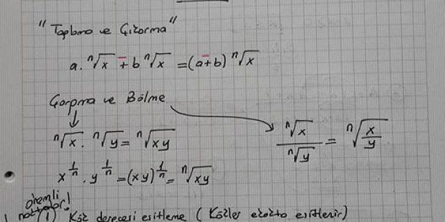Köklü Sayılar Ders Notu Ve Örnekleri – Ali Hoca